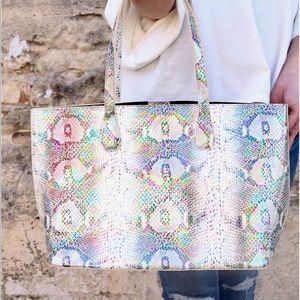 Cassie shoulder tote bag, snake multi hologram